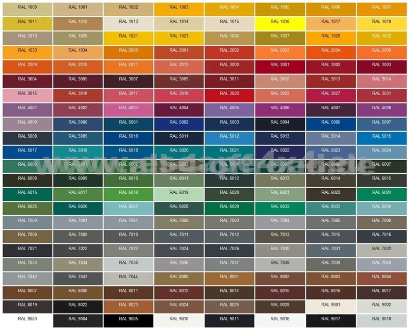ral farbkarte f r hd sto stangen all 4 offroad 4x4 ersatzteile und zubeh r. Black Bedroom Furniture Sets. Home Design Ideas